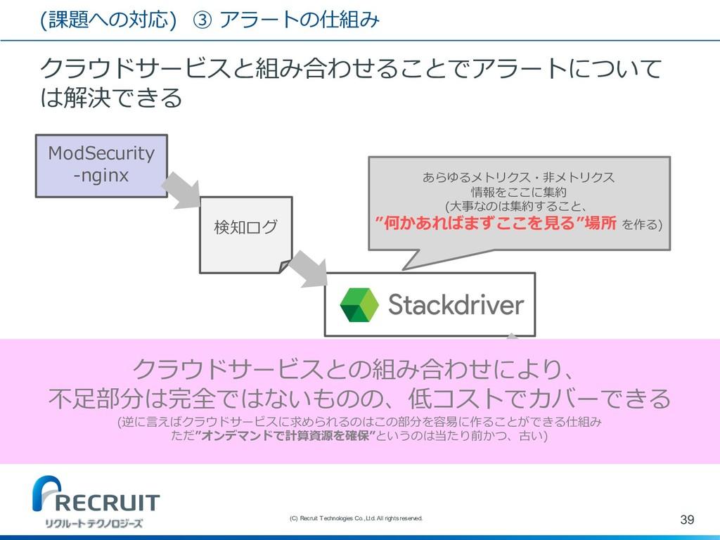 (課題への対応) ③ アラートの仕組み クラウドサービスと組み合わせることでアラートについて ...