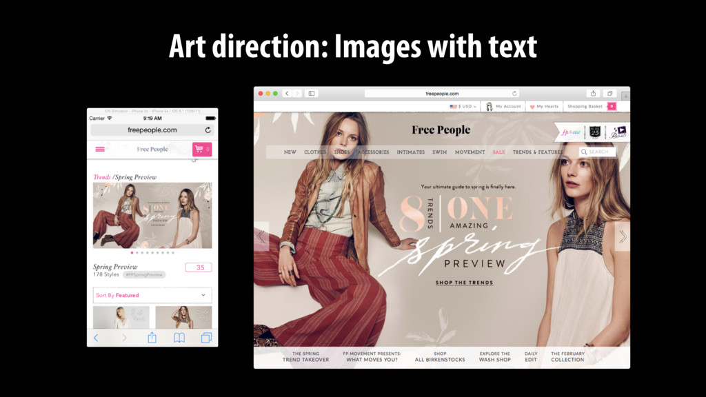 Art direction: Images with text