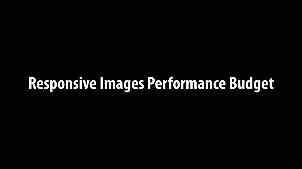 Responsive Images Performance Budget