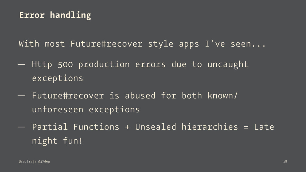 Error handling With most Future#recover style a...