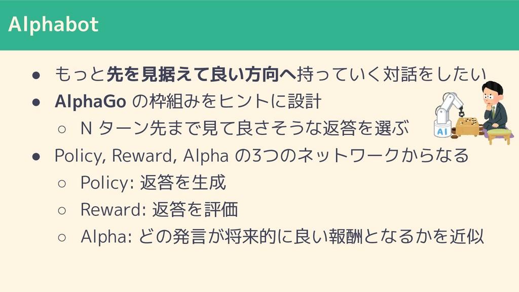 Alphabot ● もっと先を見据えて良い方向へ持っていく対話をしたい ● AlphaGo ...