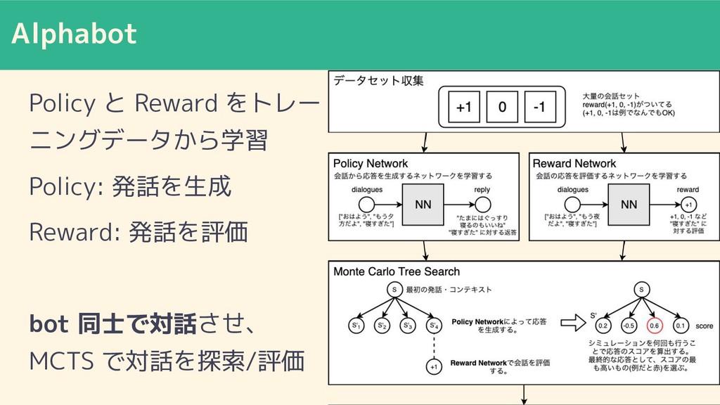 Alphabot Policy と Reward をトレー ニングデータから学習 Policy...