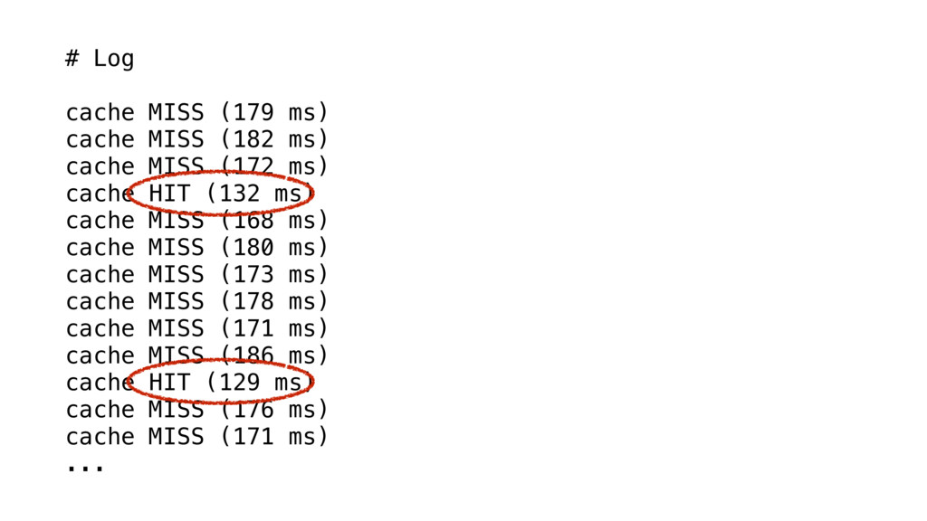 # Log cache MISS (179 ms) cache MISS (182 ms) c...