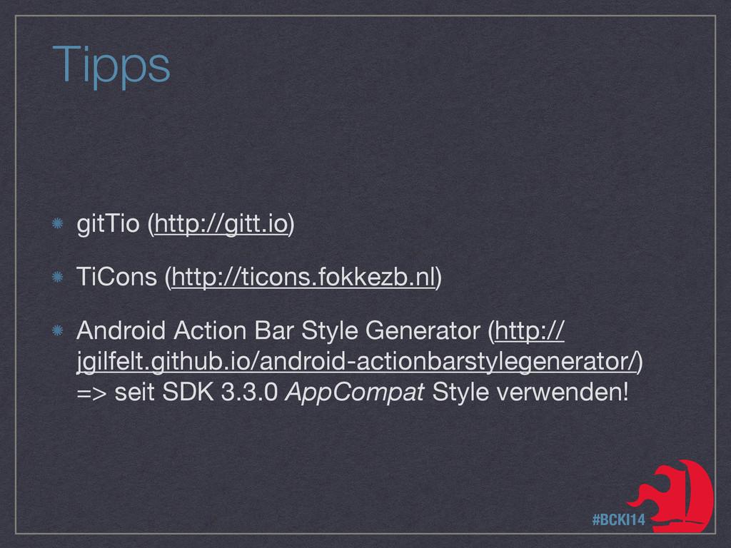 Tipps gitTio (http://gitt.io)  TiCons (http://t...
