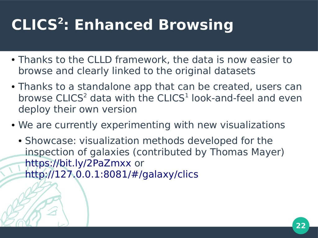 22 CLICS2: Enhanced Browsing ● Thanks to the CL...