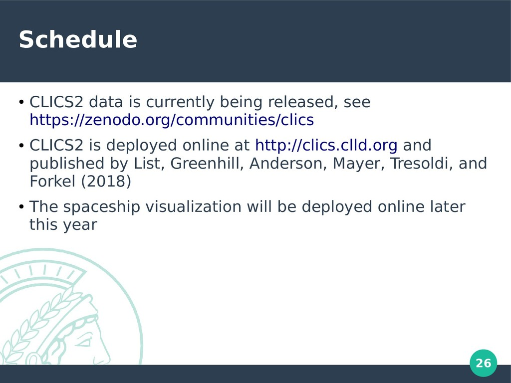 26 Schedule ● CLICS2 data is currently being re...