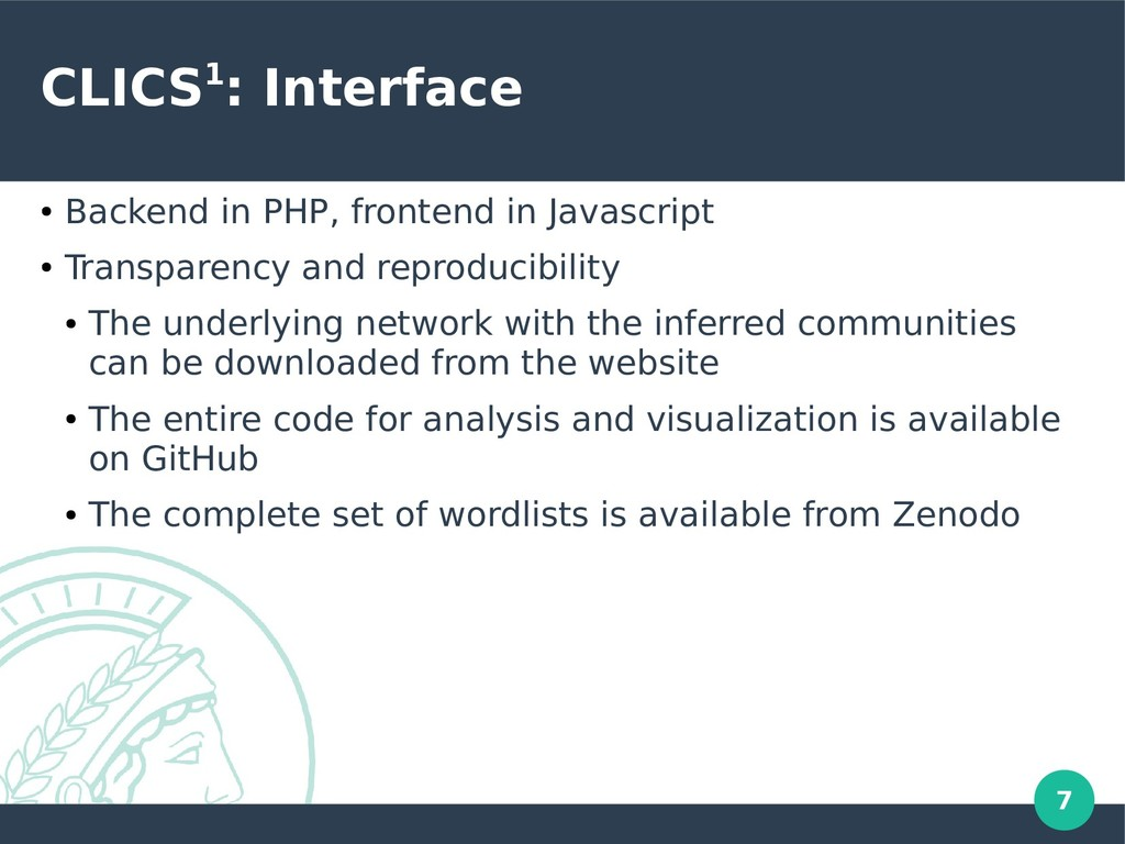 7 CLICS1: Interface ● Backend in PHP, frontend ...