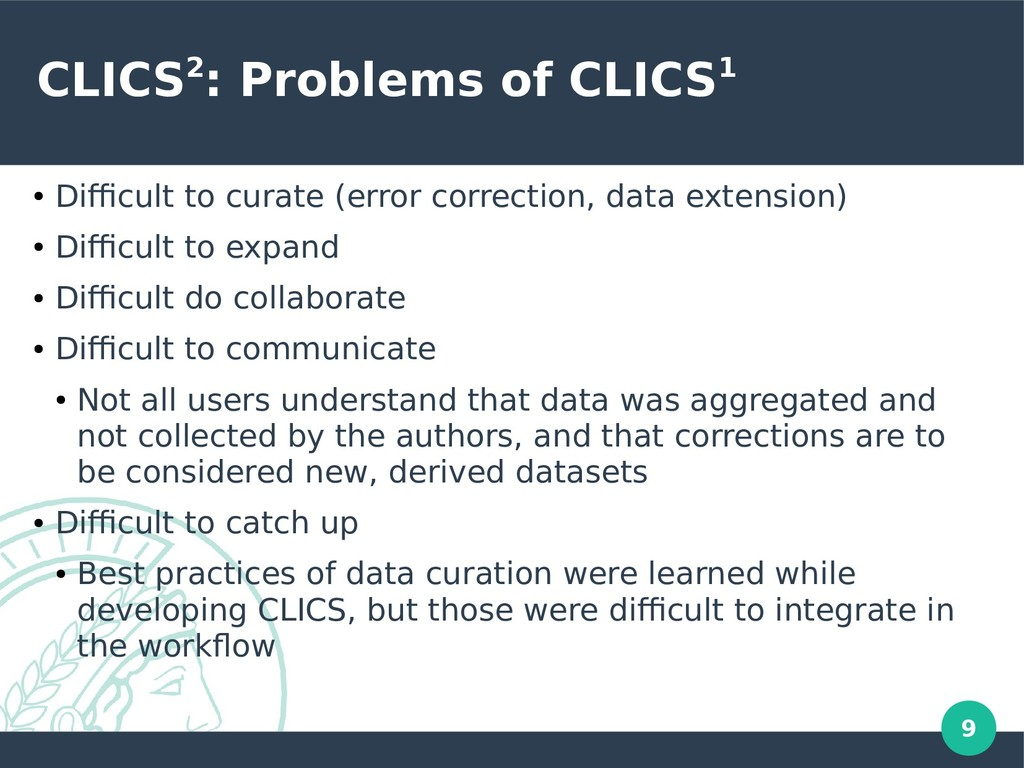 9 CLICS2: Problems of CLICS1 ● Difficult to cur...
