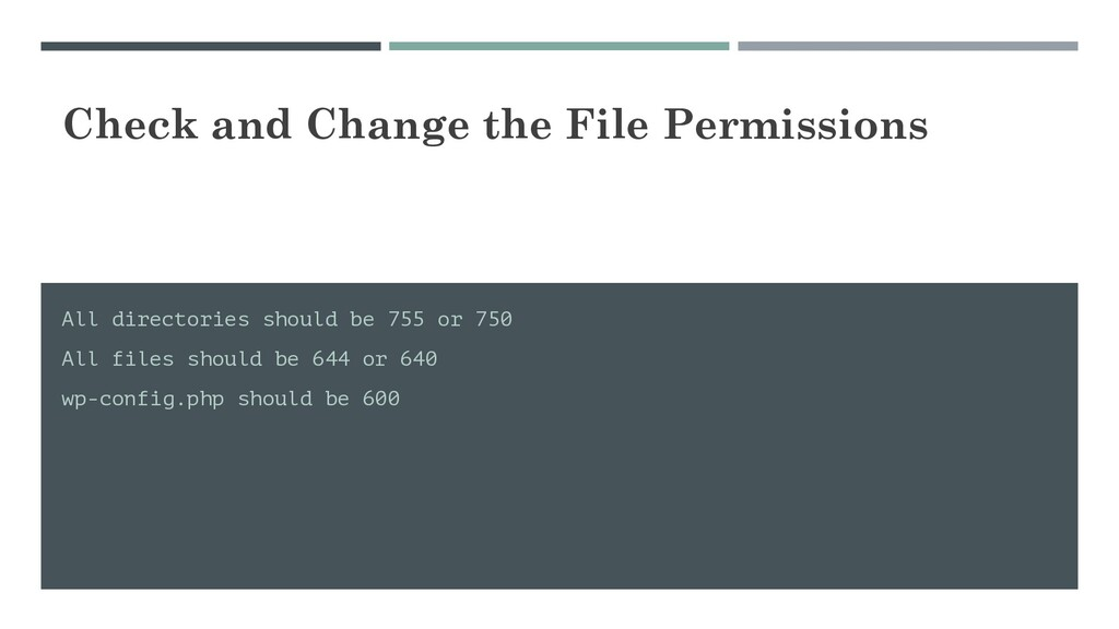 Check and Change the File Permissions All direc...