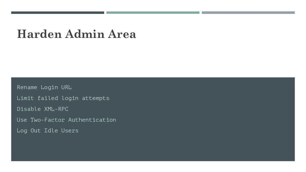 Harden Admin Area Rename Login URL Limit failed...