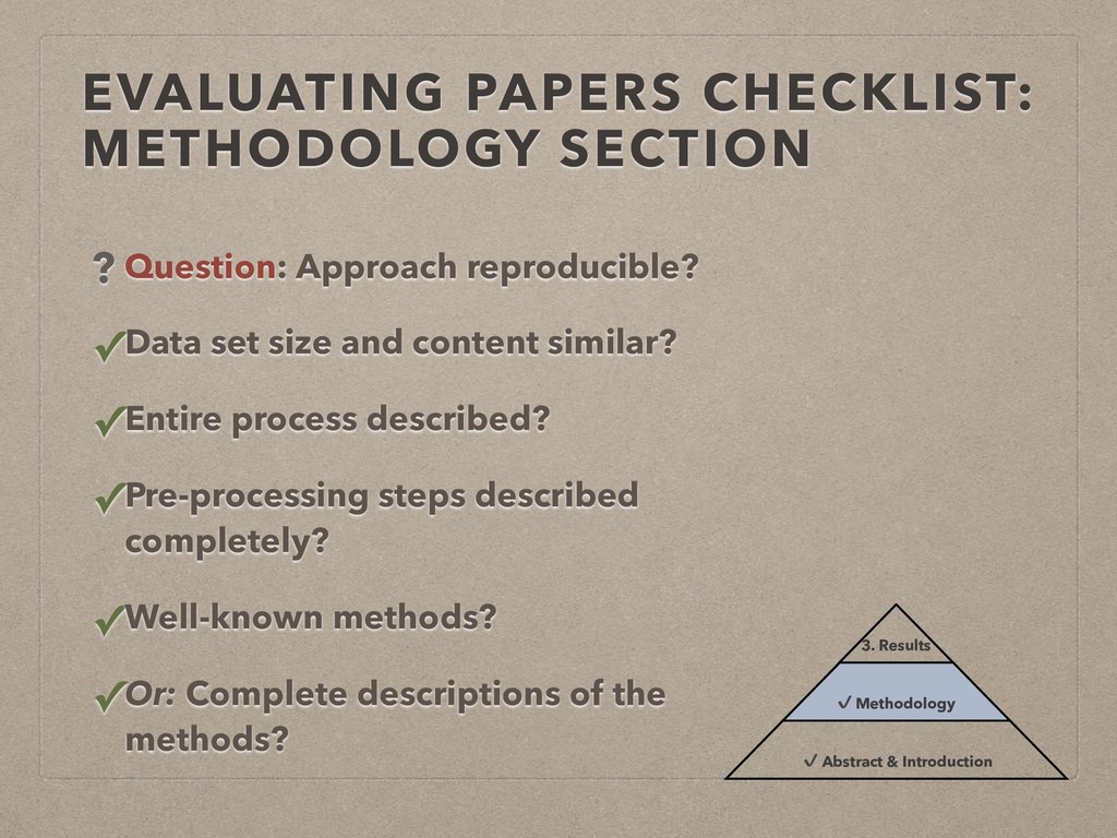 EVALUATING PAPERS CHECKLIST: METHODOLOGY SECTIO...