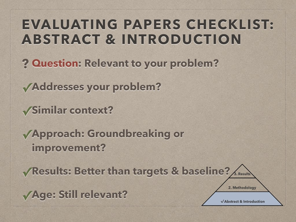 EVALUATING PAPERS CHECKLIST: ABSTRACT & INTRODU...