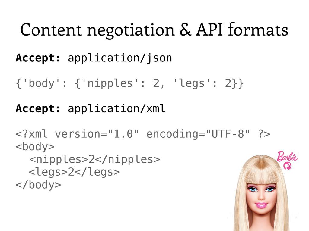 Content negotiation & API formats Accept: appli...