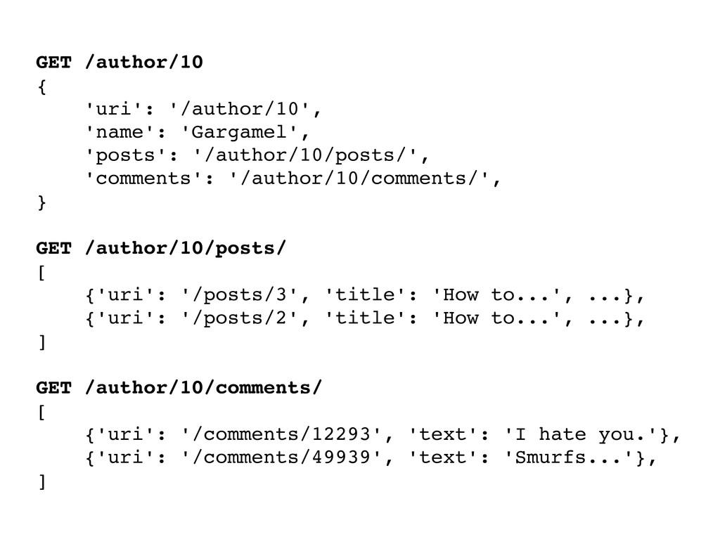 GET /author/10 { 'uri': '/author/10', 'name': '...
