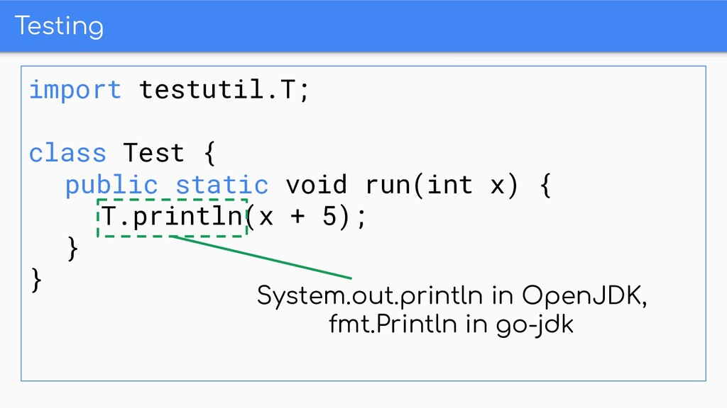 Testing import testutil.T; class Test { public ...