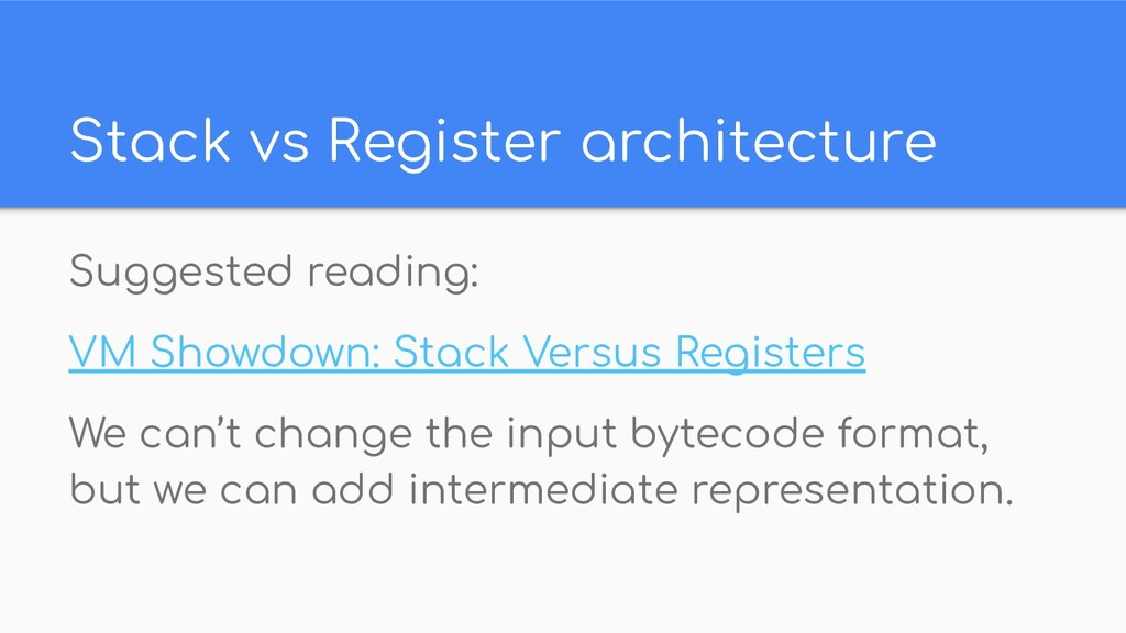 Stack vs Register architecture Suggested readin...