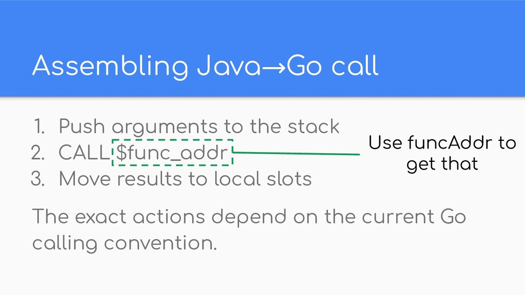 Assembling Java→Go call 1. Push arguments to th...
