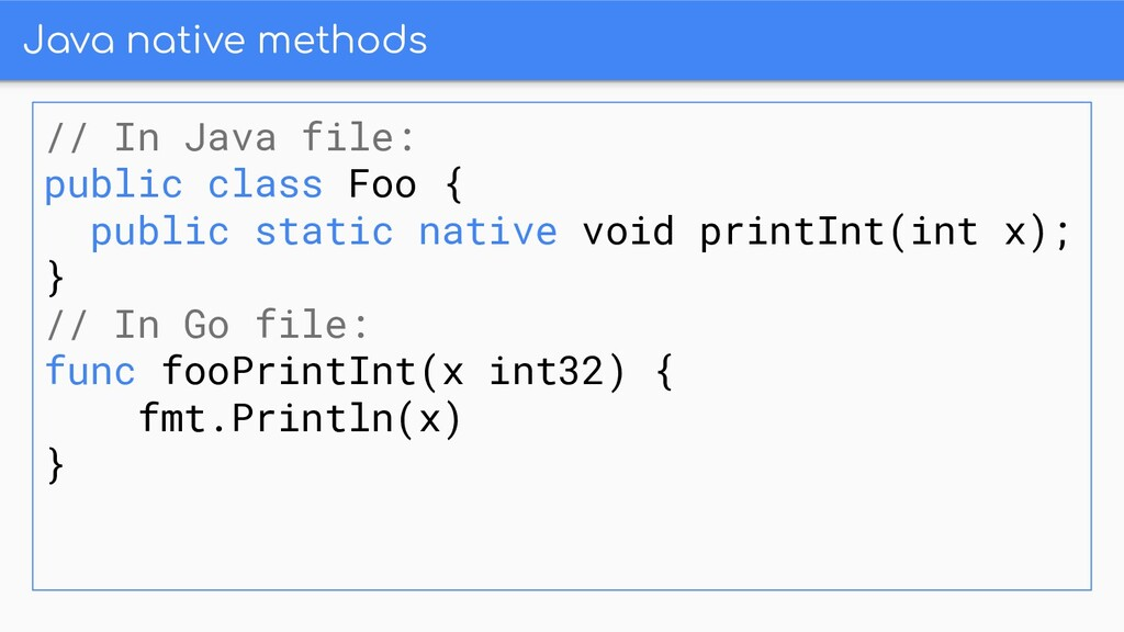 Java native methods // In Java file: public cla...
