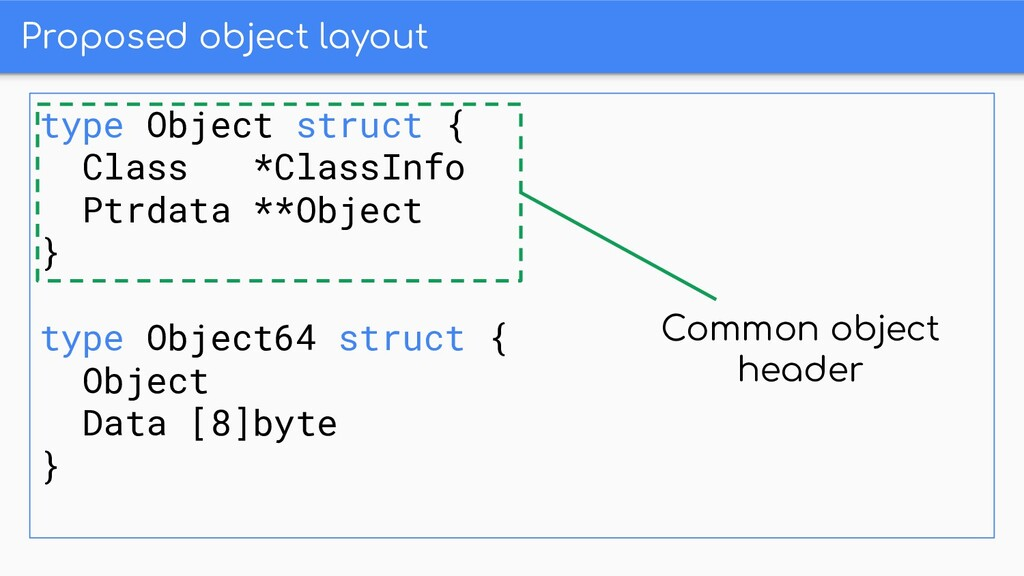 Proposed object layout type Object struct { Cla...