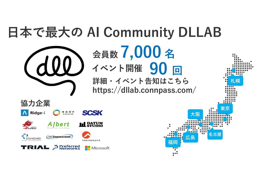 福岡 大阪 広島 名古屋 東京 札幌 日本で最大の AI Community DLLAB 7,...