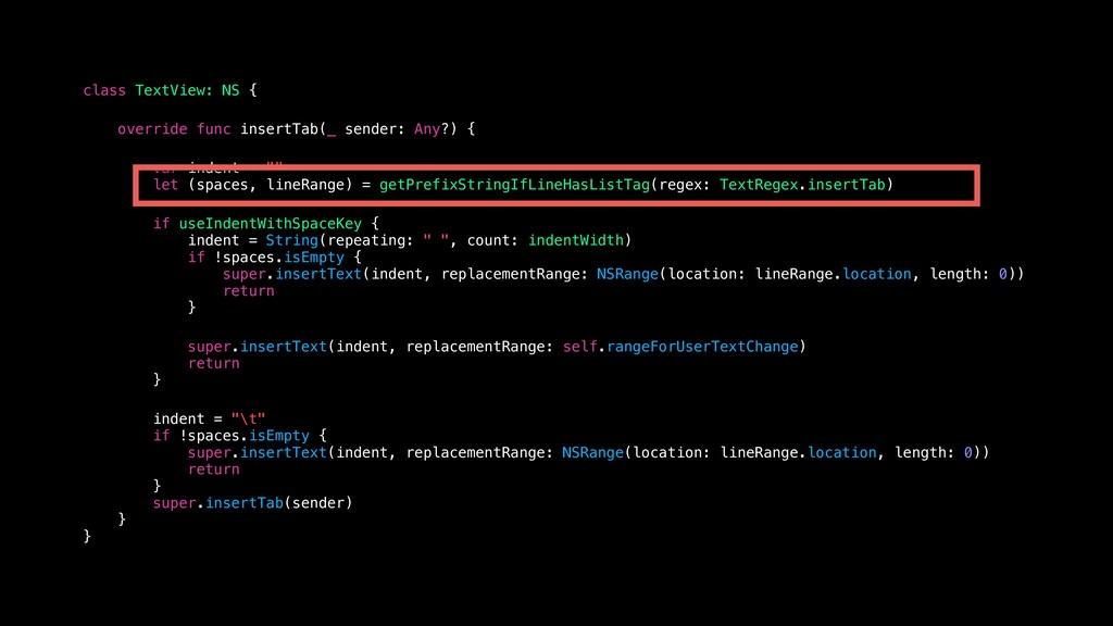 class TextView: NS { override func insertTab(_...