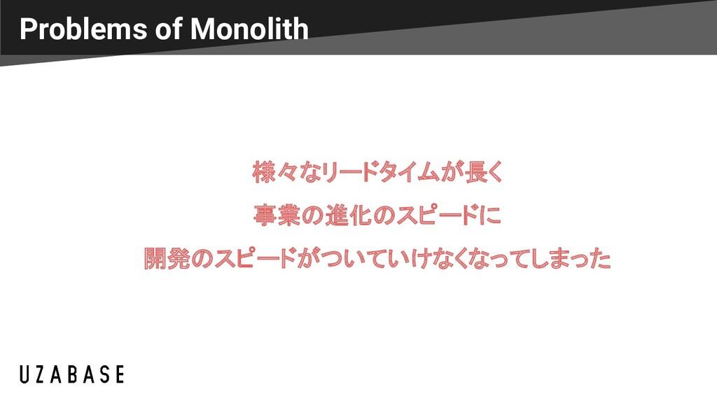 Problems of Monolith 様々なリードタイムが長く 事業の進化のスピードに 開...