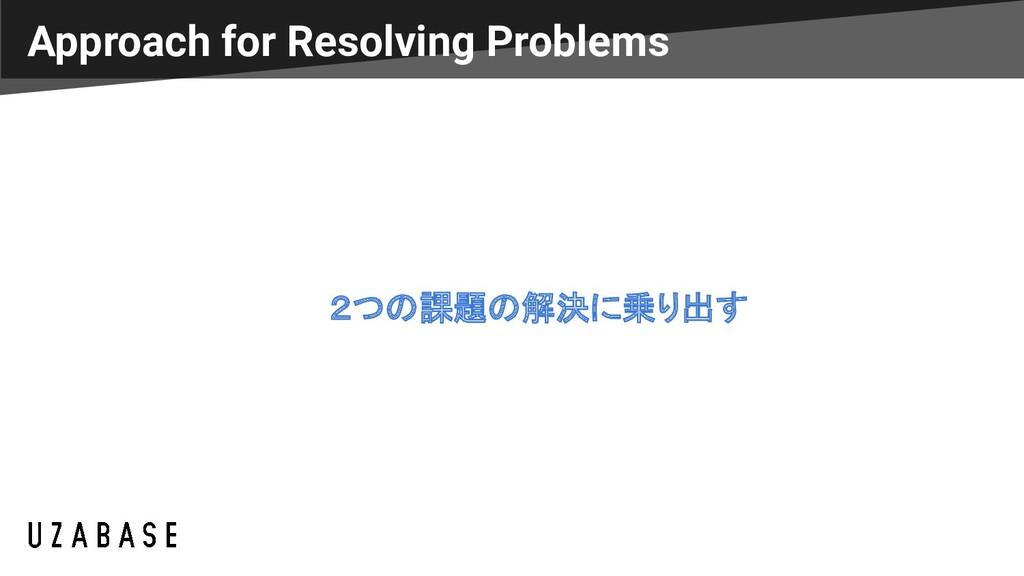 2つの課題の解決に乗り出す Approach for Resolving Problems