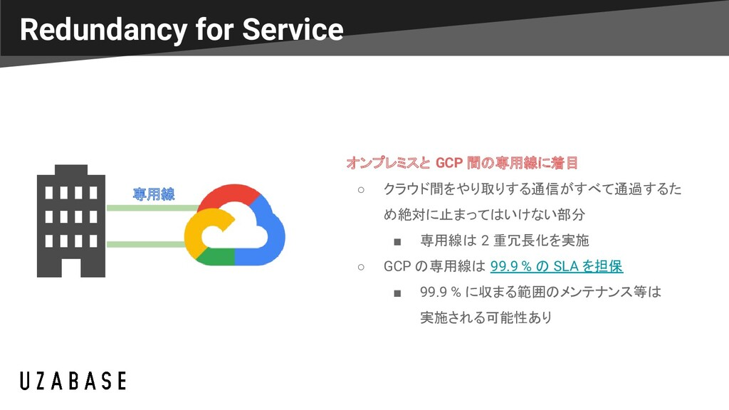 Redundancy for Service 専用線 オンプレミスと GCP 間の専用線に着目...