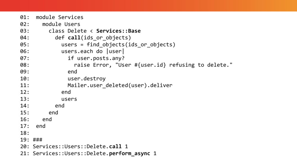 01: module Services 02: module Users 03: class ...