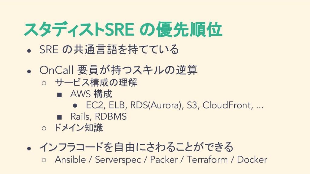 スタディストSRE の優先順位 ● SRE の共通言語を持てている ● OnCall 要員が持...