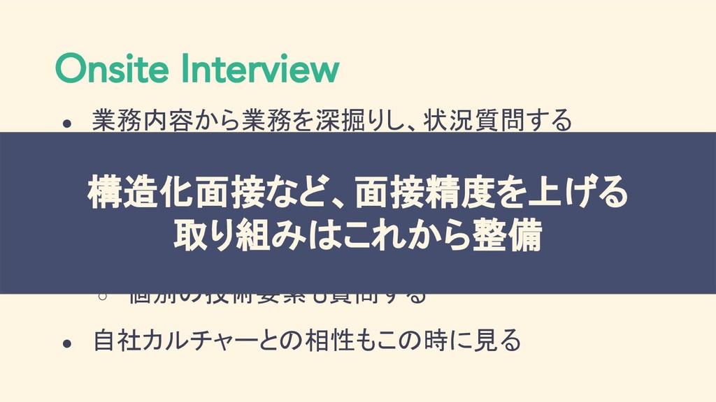 Onsite Interview ● 業務内容から業務を深掘りし、状況質問する ○ ◯◯の時、...