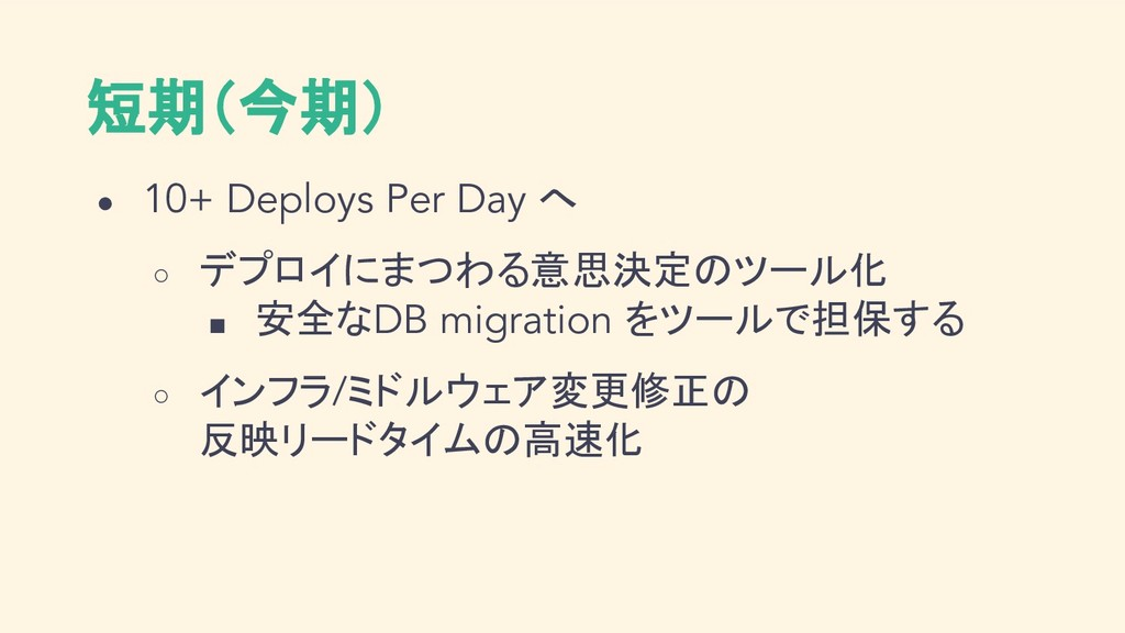 短期(今期) ● 10+ Deploys Per Day へ ○ デプロイにまつわる意思決定の...