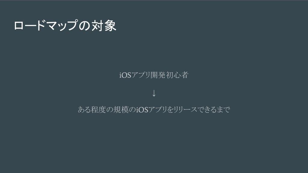 ロードマップの対象 iOS アプリ開発初心者 ↓ ある程度の規模の iOS アプリをリリースで...