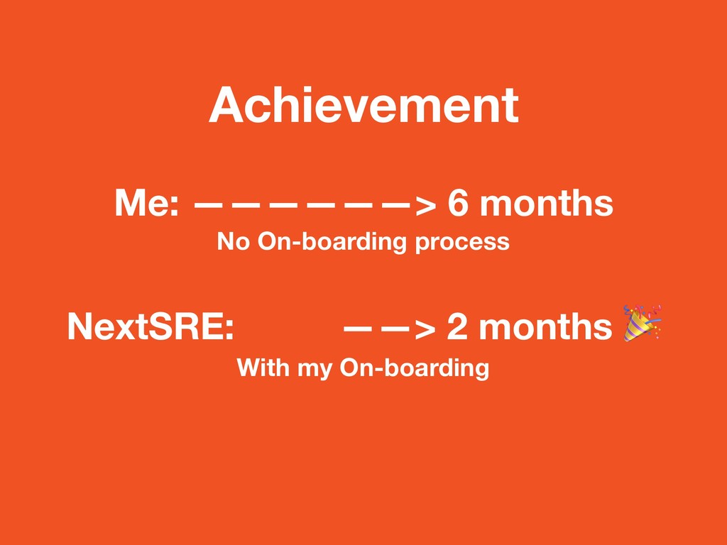 Achievement Me: ——————> 6 months No On-boarding...