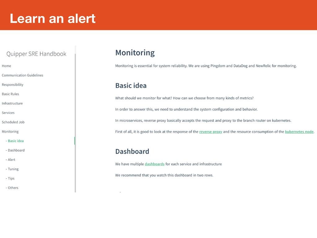 Learn an alert