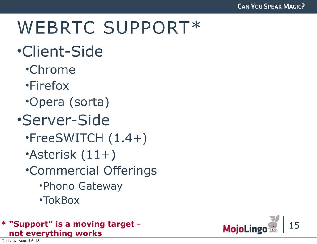 CAN YOU SPEAK MAGIC? WEBRTC SUPPORT* •Client-Si...