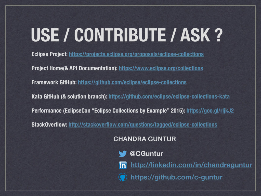 USE / CONTRIBUTE / ASK ? Eclipse Project: https...
