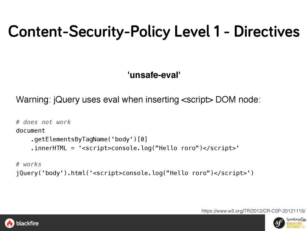 'unsafe-eval' Warning: jQuery uses eval when in...