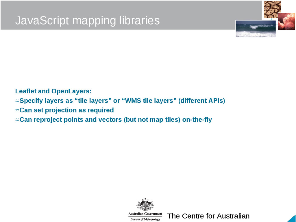 The Centre for Australian JavaScript mapping li...