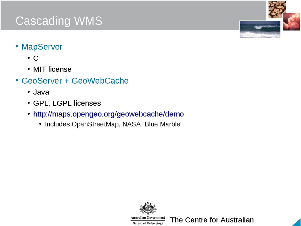 The Centre for Australian Cascading WMS • MapSe...