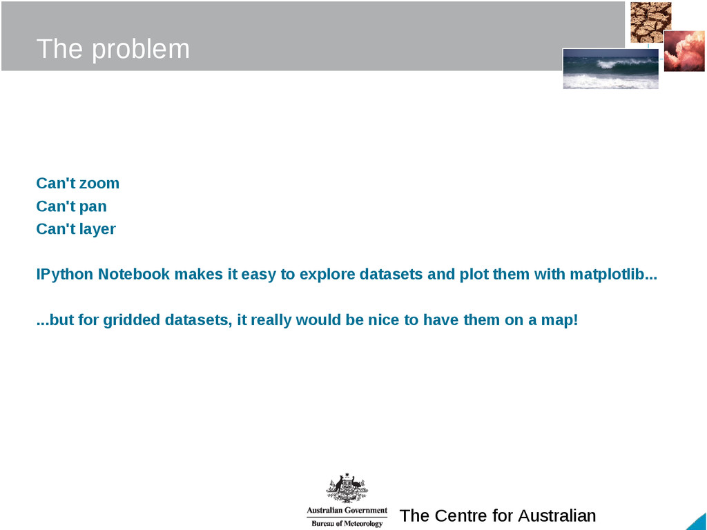 The Centre for Australian The problem Can't zoo...