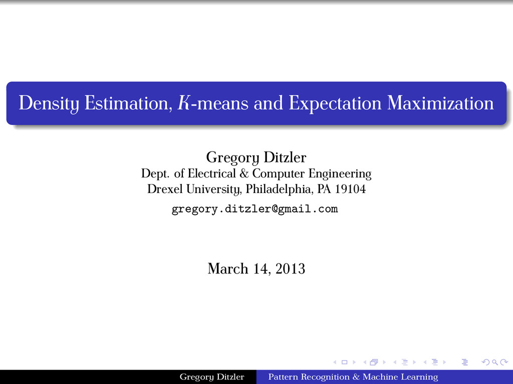Density Estimation, K-means and Expectation Max...