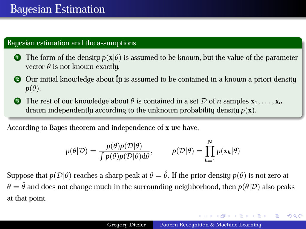 Bayesian Estimation Bayesian estimation and the...