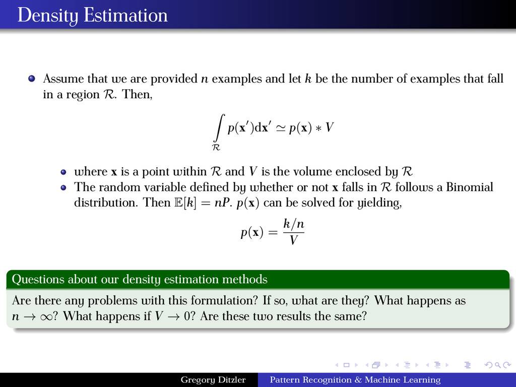 Density Estimation Assume that we are provided ...