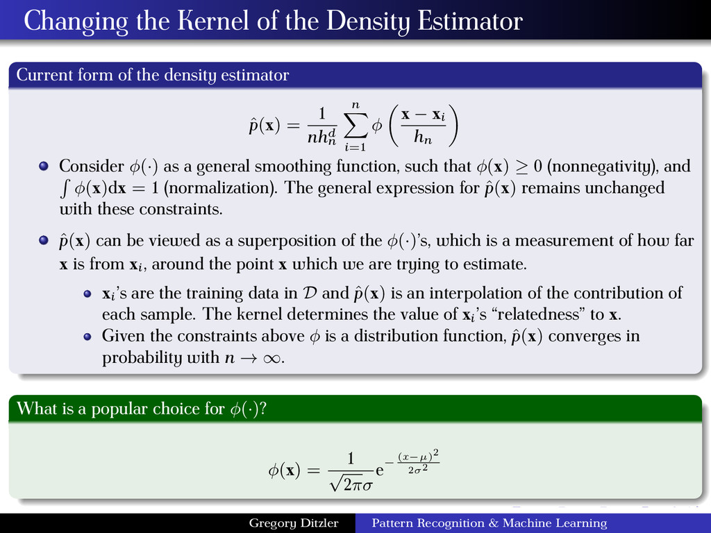 Changing the Kernel of the Density Estimator Cu...