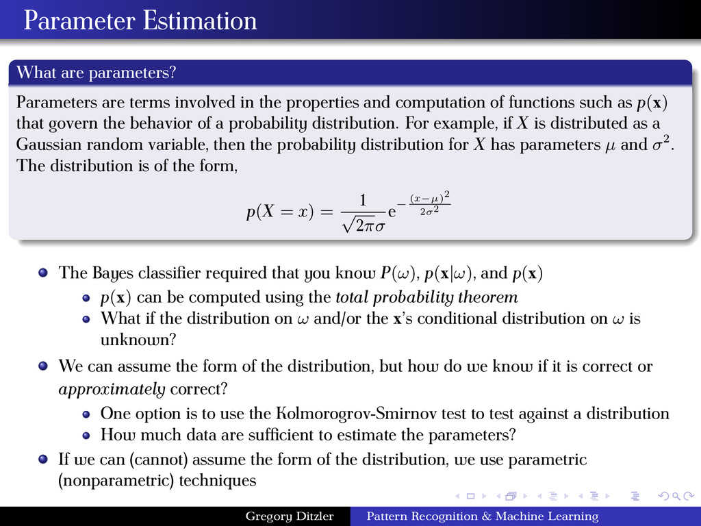 Parameter Estimation What are parameters? Param...
