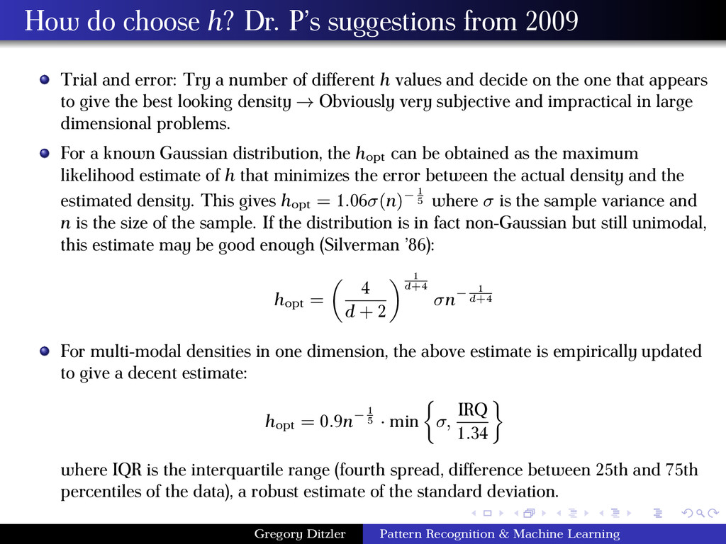 How do choose h? Dr. P's suggestions from 2009 ...