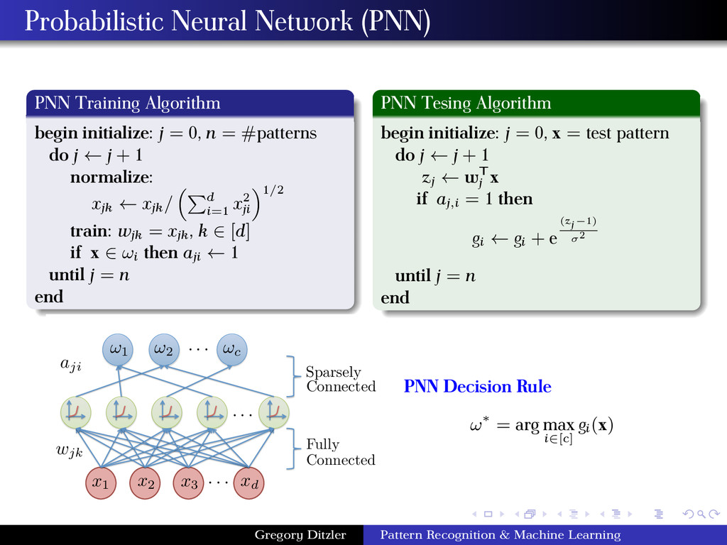 Probabilistic Neural Network (PNN) PNN Training...