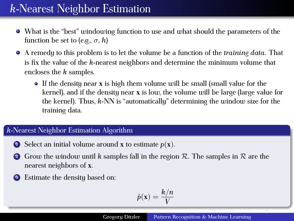 "k-Nearest Neighbor Estimation What is the ""best..."