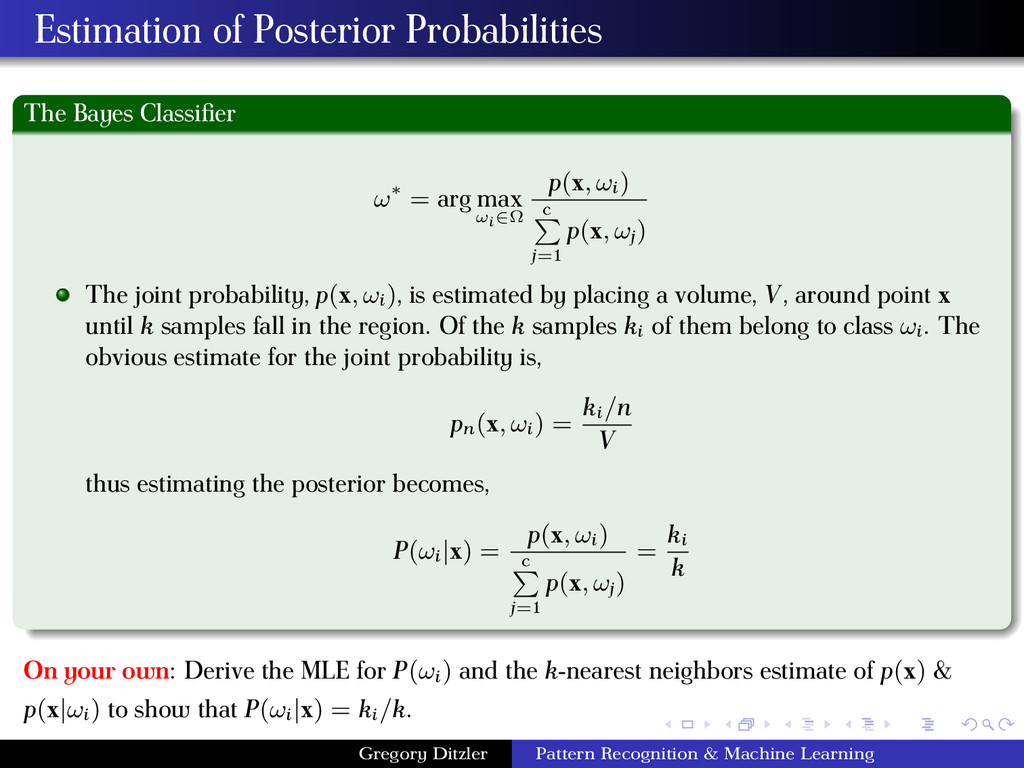 Estimation of Posterior Probabilities The Bayes...